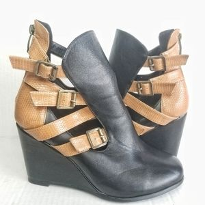 MBLM / Black & Tan Snakeskin Buckled Wedges